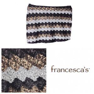Francesca's Cheveronse Sequined Mini Skirt
